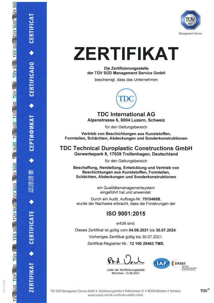 TDC renews ISO 9001:2015 Certificate